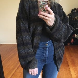 Grandpa Sweater Oversized Slouchy Cardigan Vintage